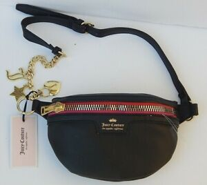 JUICY COUTURE LOS ANGELES CHARM SCHOOL BELT BAG BLACK NEW AUTHENTIC ONE SIZE