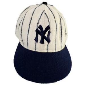 Vintage New York Yankees Cap American Needle Wool Pin Stripe 7 3/8 U.S.A. Made