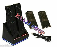 BLACK CHARGER DOCKING STATION + 2x BATTERY PACK FOR WII REMOTE + 1YR WARRANTY