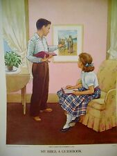 VINTAGE 1958 HANDSAKER ORIGINAL LITHOGRAPH CHRISTIAN CHILDREN BIBLE A GUIDE BOOK
