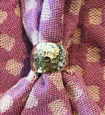 Sterling Silver 925 Ring~Size 9.5 Unbranded Hammered Wide Rounded Fashion
