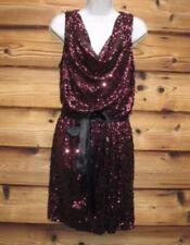 🥀🌺Caché Burgundy Sequin Drape Neck Mini Dress Size 4🌺🥀