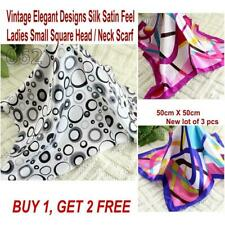 Lot 3 Pcs New Fashion Elegant Silk Satin Womens Small Square Head Neck Scarf 052