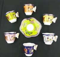 CLASSIC Coffee & Tea Cups and Saucers, Set of 6, Multi-Color Butterfly Set