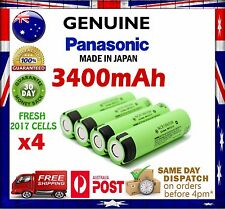 4x Panasonic NCR18650B 3400mAh Flat Top Lithium Li-Ion Rechargeable Battery