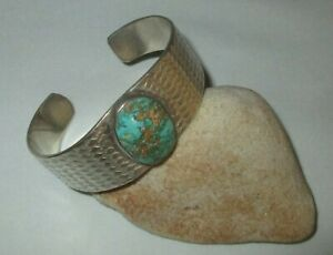 Antique  Early Native American Indian Old Pawn Silver Turquoise Cuff Bracelet