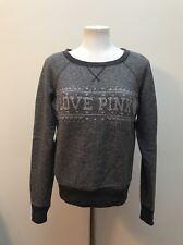 EUC Victoria's Secret LOVE PINK winter sweater XS Grey snowflakes rhinestone