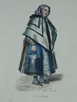 Grabado Realzado Colores Antiguo Oficios El Productos Lácteos Pauquet Guillaumot