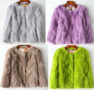 100%Real Rabbit Fur Women Coat Jacket Overcoat Luxury Short Coat Outwear Fashion