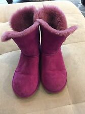 Ugg Australia 5991 Girls Bailey Button Purple Suede Boots Size 6 Or 36