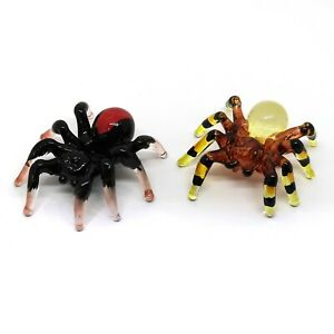 Tiny Wild Spider Craft Miniature Hand Blown Glass Figurine Collectibles Set of 2