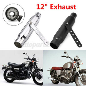 12'' Shorty Motorcycle Exhaust Pipe Muffler For Chopper Cafe Racer Custom AU