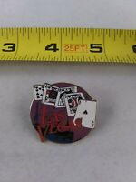 Vintage Las Vegas Souvenir Cards Casino Gambler pin button pinback Game *A