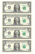 1988A $1 SAN FRANCISCO UNCUT SHEET OF 4 BANKNOTES, NEW & UNCIRCULATED