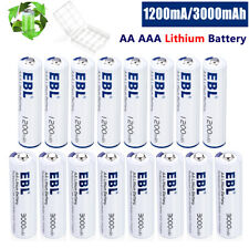 EBL Lot AA AAA Lithium Batteries Cell 3000mAh 1200mAh Long Lasting & Leakproof