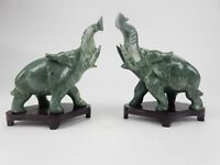 """Large Pair of Chinese Intricately Carved Jade Hardstone Elephant Statues 7"""""""