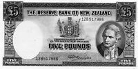 1956-67 New Zealand 5 Pound Banknote  R N Fleming  aUNC SERIAL NUMBER 12B 517986