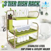 3 Tier Chrome Steel Dish Drainer Cutlery Rack Organiser Kitchen Drip Tray Green