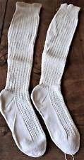 Vêtement ancien - Paire de bas anciens - rustiques - tricotés - 1900