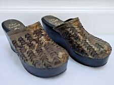 CALLEEN CORDERO bronze woven leather platform wedge clogs shoes size 7