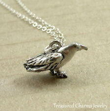 Silver Crow Charm Necklace - 3D Raven Crow Bird Pendant Jewelry NEW