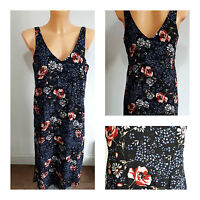 NEW Ex Papaya Ladies BLACK Mix Floral Print Summer Dress Size 8 - 18
