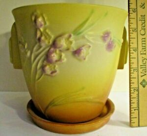 Roseville Ixia 641-5 Flower Pot and Saucer Yellow to Orange