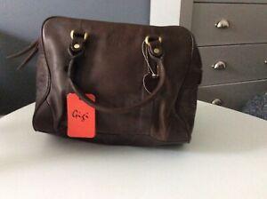 Brown leather Tote Purse Mahogany Gigi Grab bag