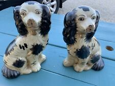 """Staffordshire Dogs King Charles Spaniel Pair Figurines 9""""H (Reproduction)"""
