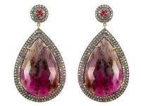 New Ruby Gemstone Pave 4.1ct Diamond Dangle Earrings 14k Gold 925 Silver Jewelry