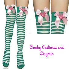 Green and White Striped Over the Knee Socks Stockings Strawberry Bow Xmas Elf