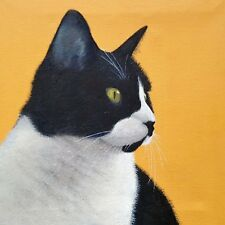 Blank greeting card - Poppy (black and white cat)