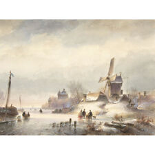 Kleijn Winter Landscape With Frozen River Drawing Canvas Wall Art Print Poster