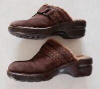 BOC Born Women's Brown Leather Suade Faux Fur Clogs Mules Buckle Size 9 40.5