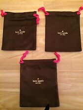 NEW Kate Spade Dust Bag Jewelry Accessories Drawstring Brown/Pink (Med) Lot of 3