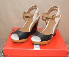 """NEW ~ ELLE Black & Brown open toe Wedge / Size 6.5 M / 4"""" Wedge """"Extremely Cute"""""""