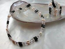 Hämatit Kette oder Armband mit echten weißen Zucht Perlen und Perle klar