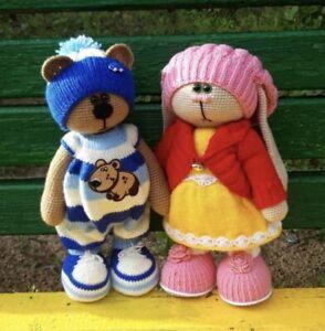 Handmade Teddy Bear - Lovely Crochet Animal Stuffed Toys 2 Pcs
