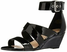 Nine West Women's Piwow Patent Wedge Sandal Black 6.5 M US