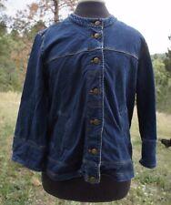 WINTER SILKS Women's Dark Blue Denim Button Front Jacket 3/4 Sleeves L Stretch