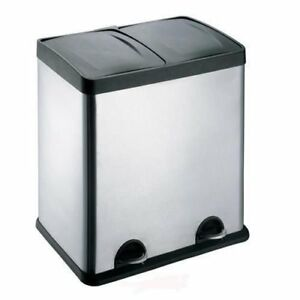 Evre 60L Stainless Steel Multi 2 Compartment Large Recycling Recycle Pedal Bin
