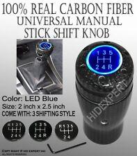 JDM Carbon Fiber Shift Knob w/ Blue LED Sport Racing Manual Threaded Shifter Z26