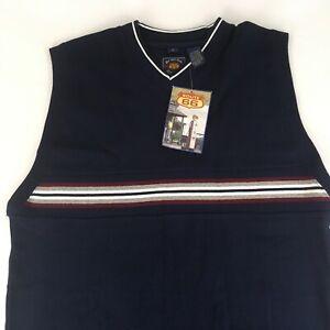 Men's Route 66 L V-Neck Sweater Vest, Navy Blue w Stripe Sleeveless 100% Cotton