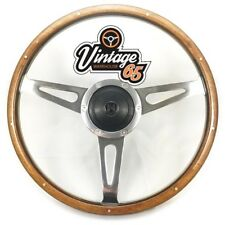 "Classic Car 13"" Riveted Light Wood Split Rim 3 Spoke Steering Wheel & Boss Kit"
