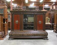 Large Antique Carved German Bookcase With Heavy Base and Claw Feet