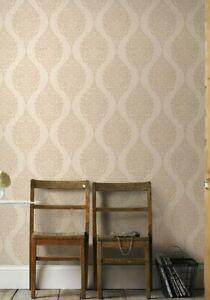 2 X Graham & Brown Superfresco Luna Damask Gold Glitter Wallpaper NEW SEALED