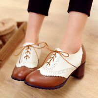 Womens Brogue Block Mid Heels Pumps Oxfords Retro Wing Tip Lace Up Shoes Plus SZ