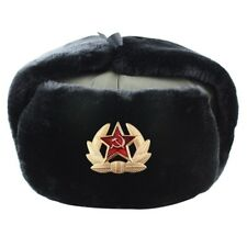 Soviet Badge Ushanka Russian fur Hat USSR Army Soldier Winter Ear Protect NC815