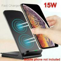 Qi Wireless Fast Charger Charging Stand Dock For Galaxy Xs Max iPhone S20+ F1W9