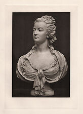 """Historic 1800s Antique Print """"Bust of Marie Antoinette the Beautiful"""" Framed COA"""